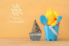 Vacation and summer with sea life style objects and beach toys for kid. Vacation and summer with sea life style objects and beach toys for kid Stock Photo