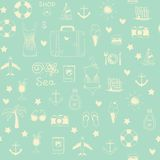 On vacation summer sketch seamless pattern Royalty Free Stock Photo