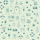 On vacation summer sketch seamless pattern Stock Photos