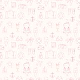 On vacation summer sketch seamless pattern Royalty Free Stock Photos