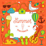 Vacation summer travel beach elements Royalty Free Stock Images