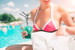 Vacation. Summer travel. Woman on the tropical beach. Close view Stock Photography