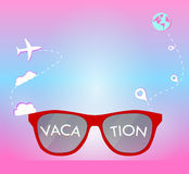 Vacation on sunglasses for holiday and travel on pink background. With location icon Royalty Free Stock Image
