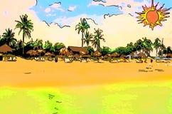 Vacation sur la plage avec les paumes vertes, ciel à sable jaune et bleu illustration de vecteur