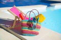 Vacation at the swimming pool Royalty Free Stock Photo