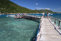 Vacation Thailand. The beautiful island of Koh To near Koh Samui. This jetty is where the tourists disembark from the boat Stock Photography