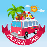 Vacation theme with van and summer objects Stock Image