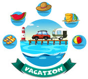 Vacation theme with wagon and beach objects Royalty Free Stock Image