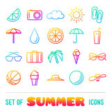 Vacation themed icons with thin lines and gradient Royalty Free Stock Image