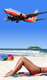 Vacation time. Airplane landing on tropical island Royalty Free Stock Photo