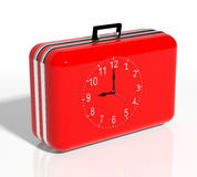 Vacation time. Red travel suitcase with clock Royalty Free Stock Images