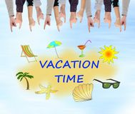 Vacation time concept on a wall. Vacation time concept pointed by several fingers Royalty Free Stock Photo