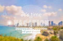 Vacation time. Vector card. Blurred background. Royalty Free Stock Images