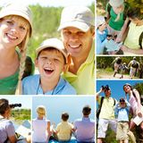 Vacation topic. Collage of family members on vacation royalty free stock images