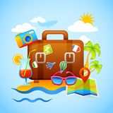 Vacation And Tourism Concept. With suitcase and travel and recreation icons vector illustration Royalty Free Stock Image