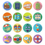 Vacation and Tourism Flat Icons Set Royalty Free Stock Image