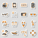 Vacation and Tourism Icons Sticker Set Royalty Free Stock Image