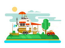Vacation trailer flat design Royalty Free Stock Images
