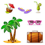 Vacation and travel background. Set summer symbols Stock Images
