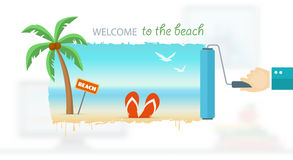 Vacation and travel banner with tropical seaside Royalty Free Stock Images