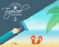 Vacation and travel banner with tropical seaside Stock Photography