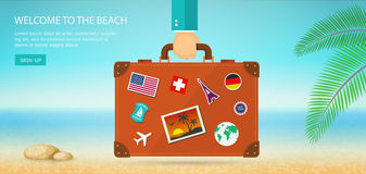 Vacation and travel banner with tropical seaside and suitcase Royalty Free Stock Photos