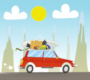 Vacation travel by car on sunset background Royalty Free Stock Photography