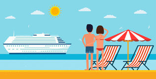 Vacation and travel. Cartoon young couple by the sea looking at a cruise ship. Sea beach with lounger and umbrella Royalty Free Stock Images