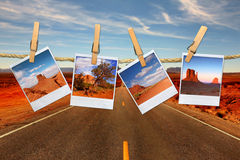 Vacation Travel Concept With Polaroid Film Images stock photo