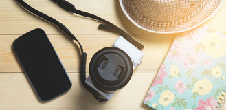 Vacation travel equipment on wood Stock Photography