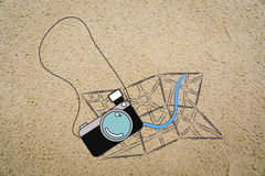 Vacation & travel essential objects: camera and map Stock Photos