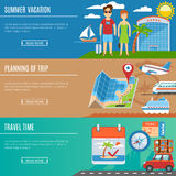 Vacation And Travel Flat Banners Set Stock Image
