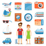 Vacation And Travel Flat Icons Set Royalty Free Stock Photo