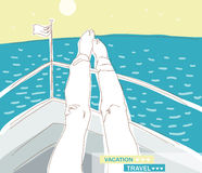 Vacation, travel. Vacation. girl put feet on the boat, she has a rest and looks at the sea.  illustration Royalty Free Stock Images