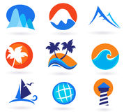 Vacation, travel and holiday summer icons Royalty Free Stock Image