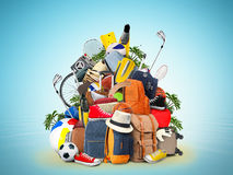 Vacation and travel. A huge pile of things for the holiday Stock Images