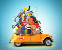 Vacation and travel. A huge pile of things for the holiday Stock Photos
