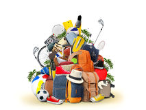 Vacation and travel. A huge pile of things for the holiday Stock Photo