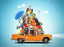 Vacation and travel. A huge pile of things for the holiday Stock Image