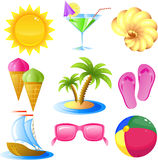 Vacation and travel icon set. Isolated on white, eps 8 format Royalty Free Stock Photography