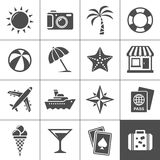 Vacation and travel icons. Vacation and travel icon set. Simplus series. Each icon is a single object (compound path Royalty Free Stock Photo