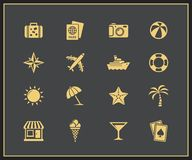 Vacation and travel icons royalty free illustration