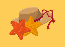 Vacation travel icons image. Flat design hat with starfish vacation travel icons image vector illustration Stock Photos