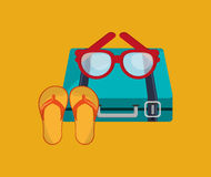 Vacation travel icons image. Flat design suitcase with vacation travel icons image vector illustration Stock Images