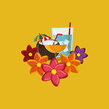 Vacation travel icons image. Flat design tropical cocktail coconut vacation travel icons image vector illustration Stock Images