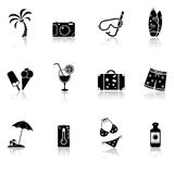 Vacation and travel icons. With reflection. Vector illustration Stock Images