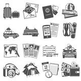 Vacation travel icons set black. Summer vacation travel symbols icons set of transportation and sightseeing guide map black abstract  vector illustration Royalty Free Stock Image