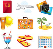 Vacation and travel icons set. Vacation and travel icons detailed  set Royalty Free Stock Photos