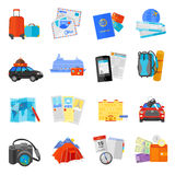 Vacation travel icons set flat. Vacation travel flat icons collection  with ocean liner cruise pictures and flight tickets abstract  vector illustration Royalty Free Stock Images