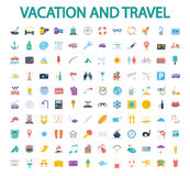 Vacation and travel icons. Set. Flat vector related icon set for web and mobile applications. It can be used as - logo, pictogram, icon, infographic element Royalty Free Stock Photography
